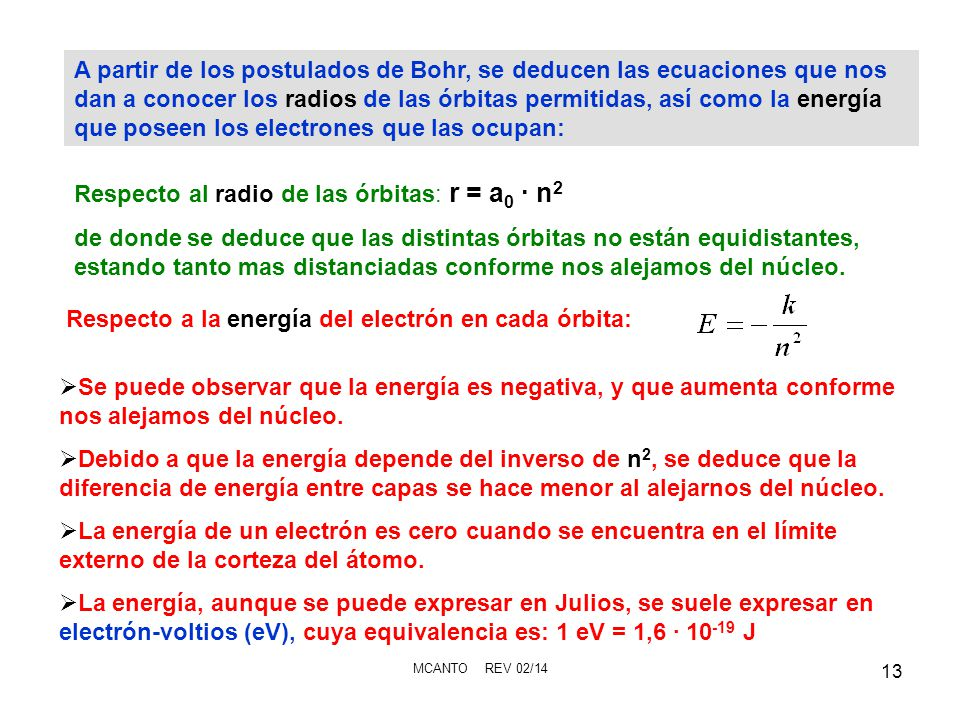 MCANTO REV 02/14 13 A partir de los postulados de Bohr, se deducen las ecuaciones que nos dan a conocer los radios de las órbitas permitidas, así como