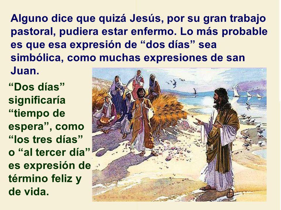 ¿Por qué esperó Jesús dos días? Hay varias hipótesis. Una de ellas es que Jesús estaba amenazado de muerte y era peligroso ir a Judea. Por eso, cuando