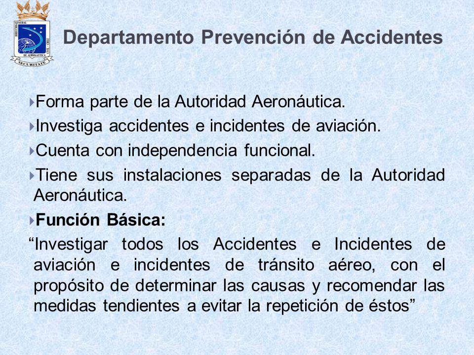 Departamento Prevención de Accidentes Forma parte de la Autoridad Aeronáutica. Investiga accidentes e incidentes de aviación. Cuenta con independencia