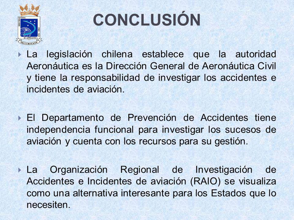 CONCLUSIÓN La legislación chilena establece que la autoridad Aeronáutica es la Dirección General de Aeronáutica Civil y tiene la responsabilidad de in