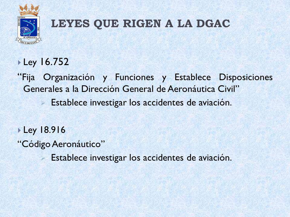 LEYES QUE RIGEN A LA DGAC Ley 16.752 Fija Organización y Funciones y Establece Disposiciones Generales a la Dirección General de Aeronáutica Civil Est