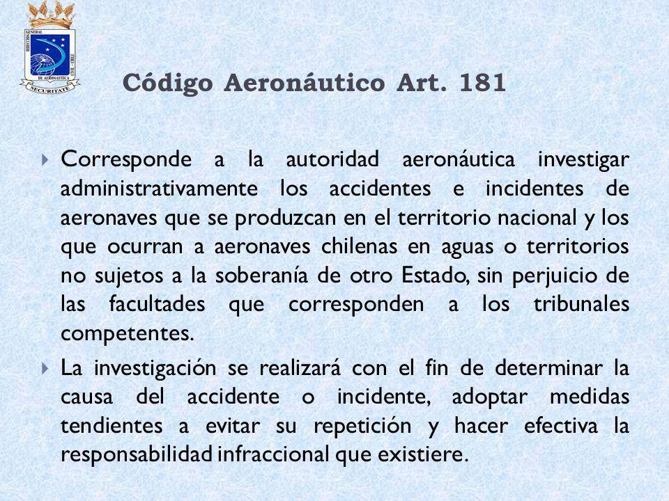 Código Aeronáutico Art. 181 Corresponde a la autoridad aeronáutica investigar administrativamente los accidentes e incidentes de aeronaves que se prod