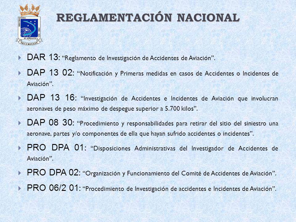 REGLAMENTACIÓN NACIONAL DAR 13 : Reglamento de Investigación de Accidentes de Aviación. DAP 13 02 : Notificación y Primeras medidas en casos de Accide