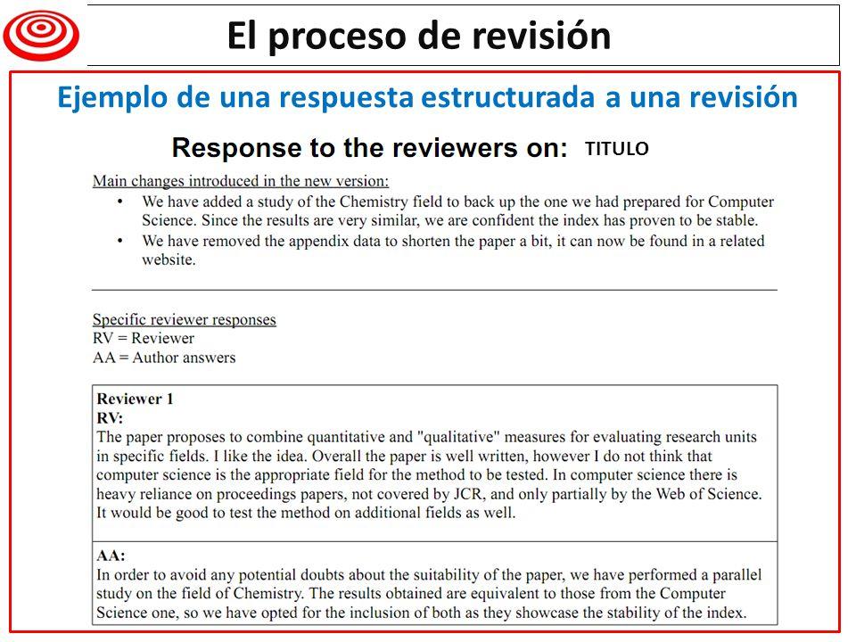 TITULO El proceso de revisión Ejemplo de una respuesta estructurada a una revisión