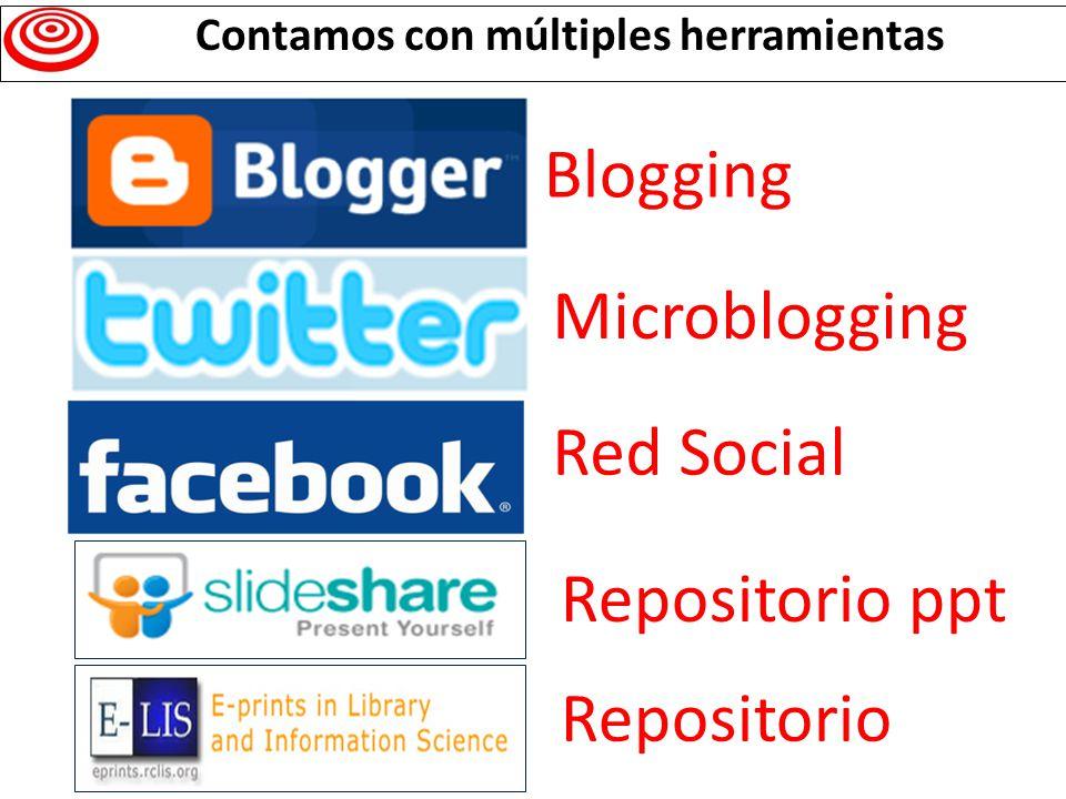 Blogging Microblogging Red Social Repositorio ppt Repositorio Contamos con múltiples herramientas