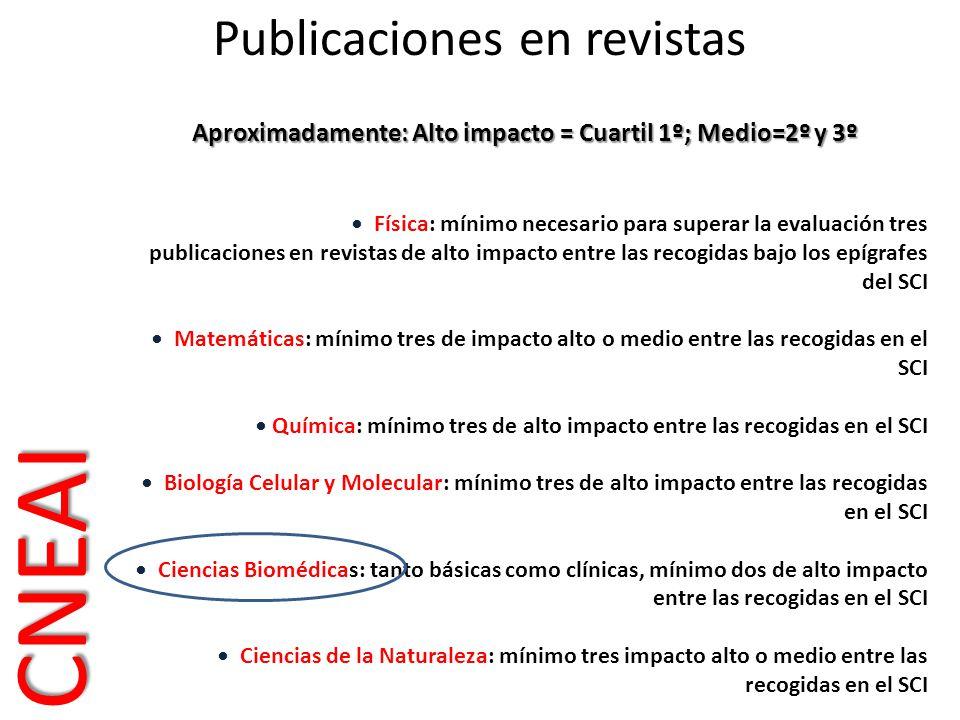 Aproximadamente: Alto impacto = Cuartil 1º; Medio=2º y 3º Física: mínimo necesario para superar la evaluación tres publicaciones en revistas de alto i