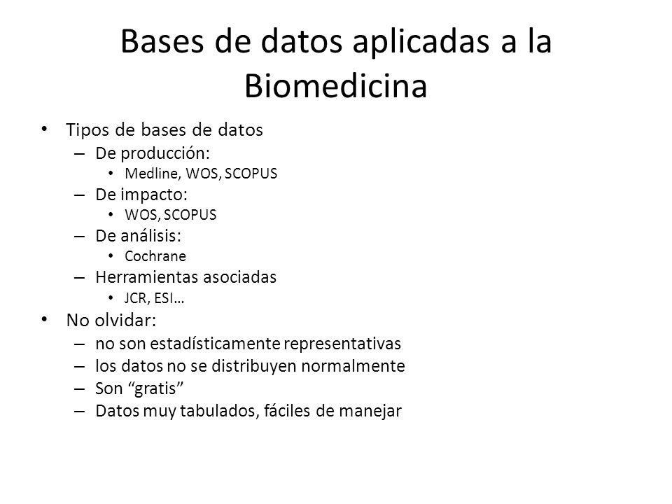Bases de datos aplicadas a la Biomedicina Tipos de bases de datos – De producción: Medline, WOS, SCOPUS – De impacto: WOS, SCOPUS – De análisis: Cochr