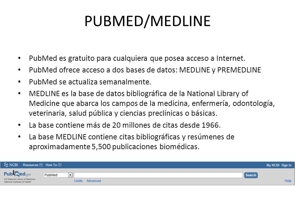 PUBMED/MEDLINE PubMed es gratuito para cualquiera que posea acceso a Internet. PubMed ofrece acceso a dos bases de datos: MEDLINE y PREMEDLINE PubMed