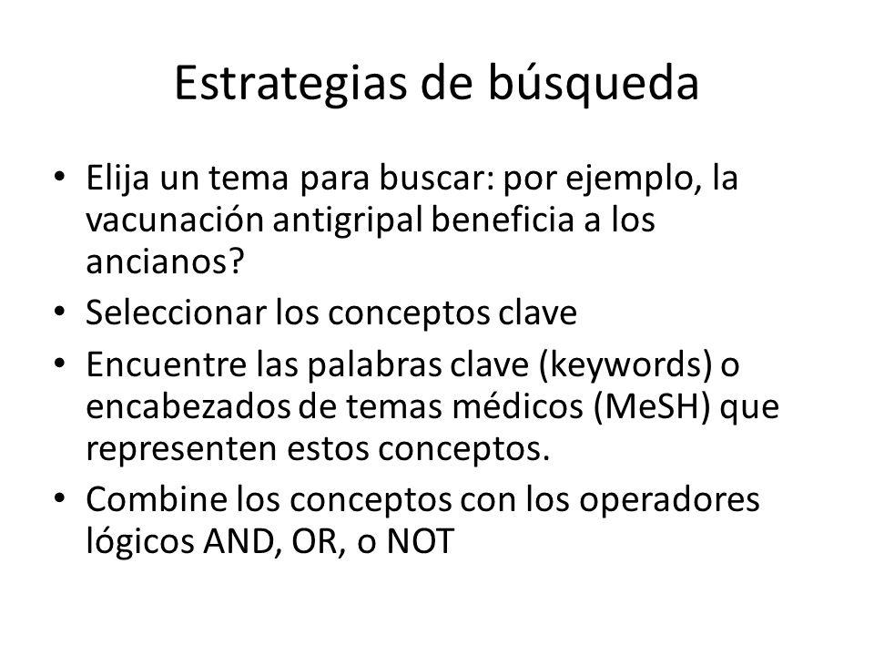 Estrategias de búsqueda Elija un tema para buscar: por ejemplo, la vacunación antigripal beneficia a los ancianos? Seleccionar los conceptos clave Enc