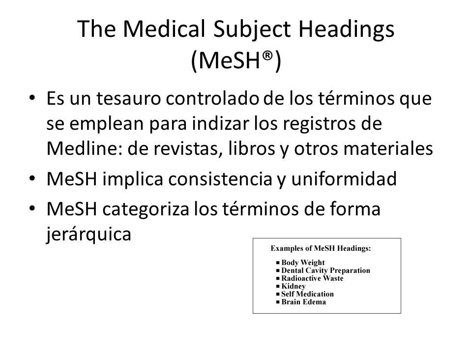 The Medical Subject Headings (MeSH®) Es un tesauro controlado de los términos que se emplean para indizar los registros de Medline: de revistas, libro