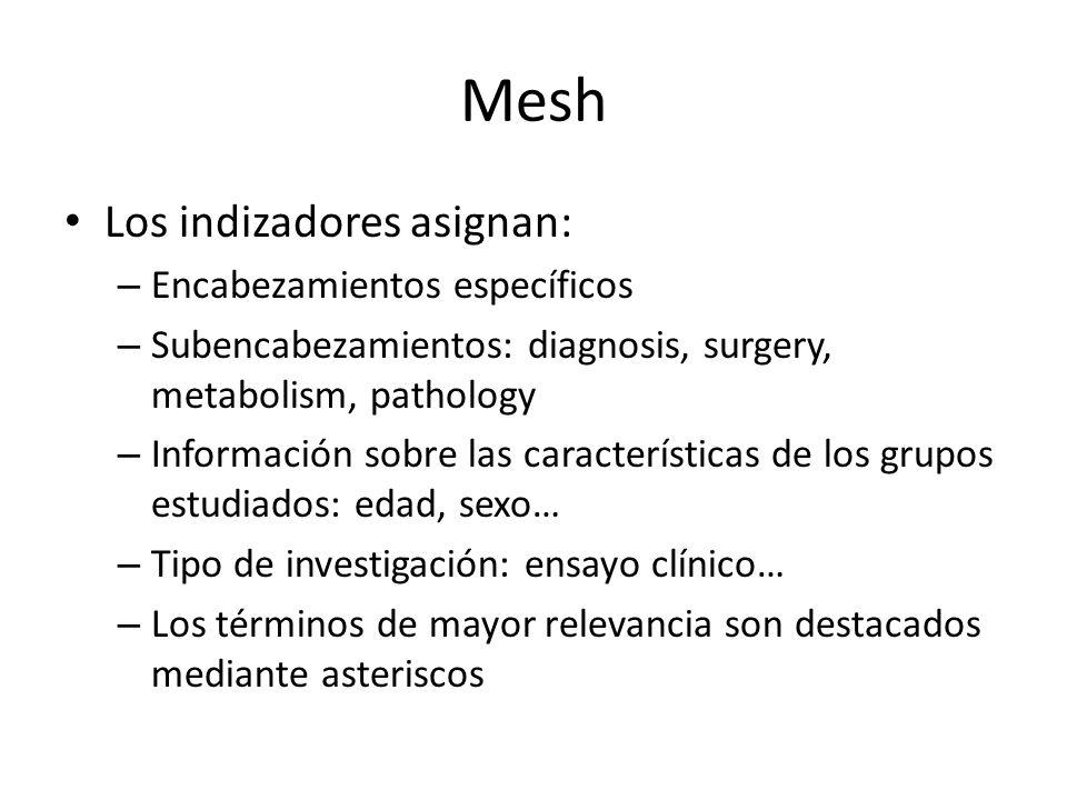 Mesh Los indizadores asignan: – Encabezamientos específicos – Subencabezamientos: diagnosis, surgery, metabolism, pathology – Información sobre las ca