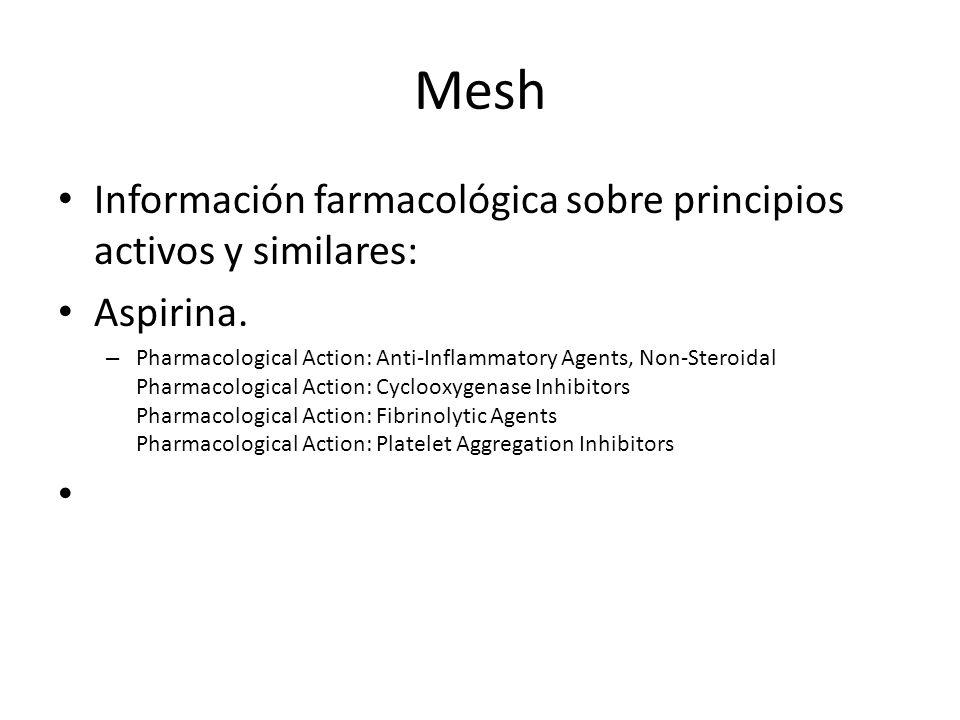 Información farmacológica sobre principios activos y similares: Aspirina. – Pharmacological Action: Anti-Inflammatory Agents, Non-Steroidal Pharmacolo