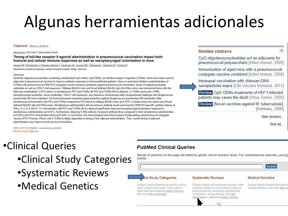 Algunas herramientas adicionales Clinical Queries Clinical Study Categories Systematic Reviews Medical Genetics