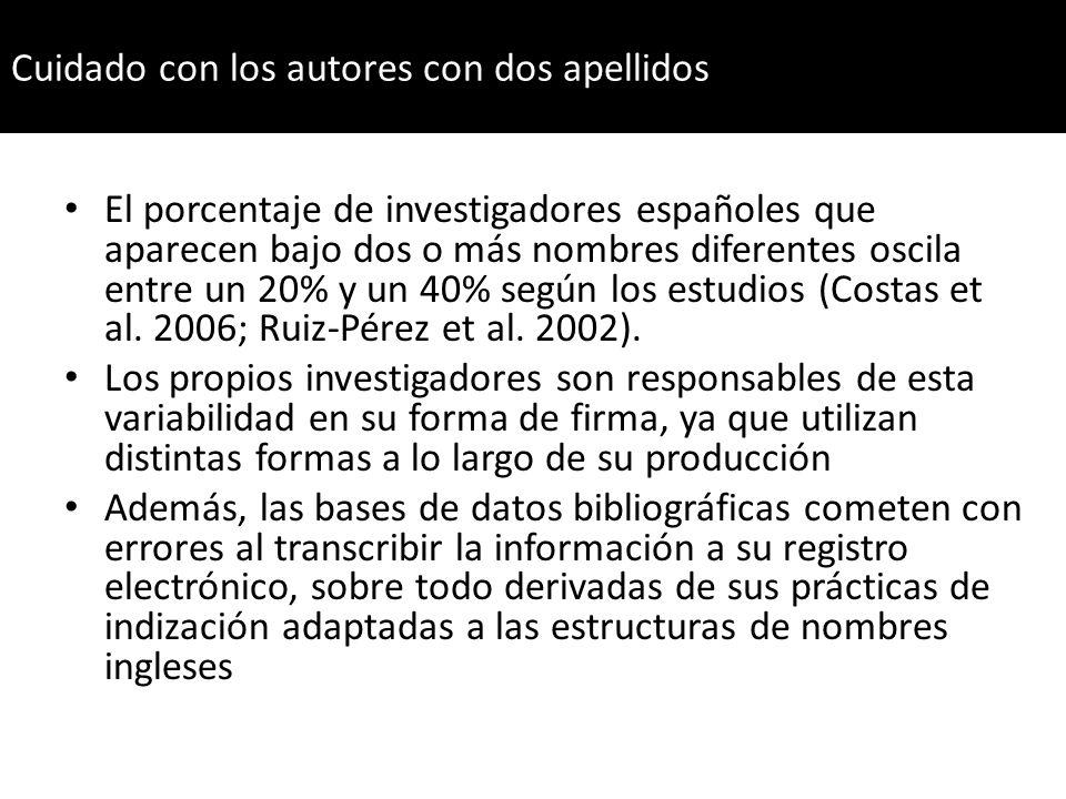 El porcentaje de investigadores españoles que aparecen bajo dos o más nombres diferentes oscila entre un 20% y un 40% según los estudios (Costas et al