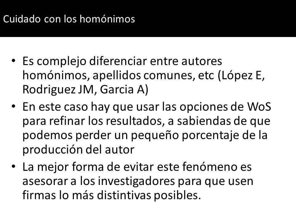 Es complejo diferenciar entre autores homónimos, apellidos comunes, etc (López E, Rodriguez JM, Garcia A) En este caso hay que usar las opciones de Wo