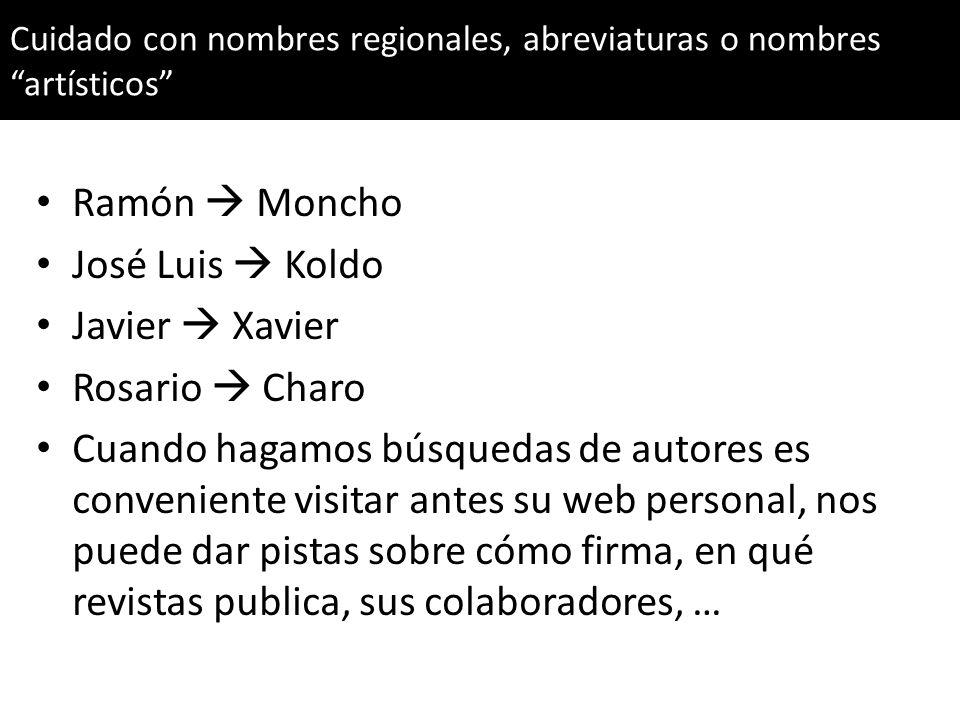 Ramón Moncho José Luis Koldo Javier Xavier Rosario Charo Cuando hagamos búsquedas de autores es conveniente visitar antes su web personal, nos puede d