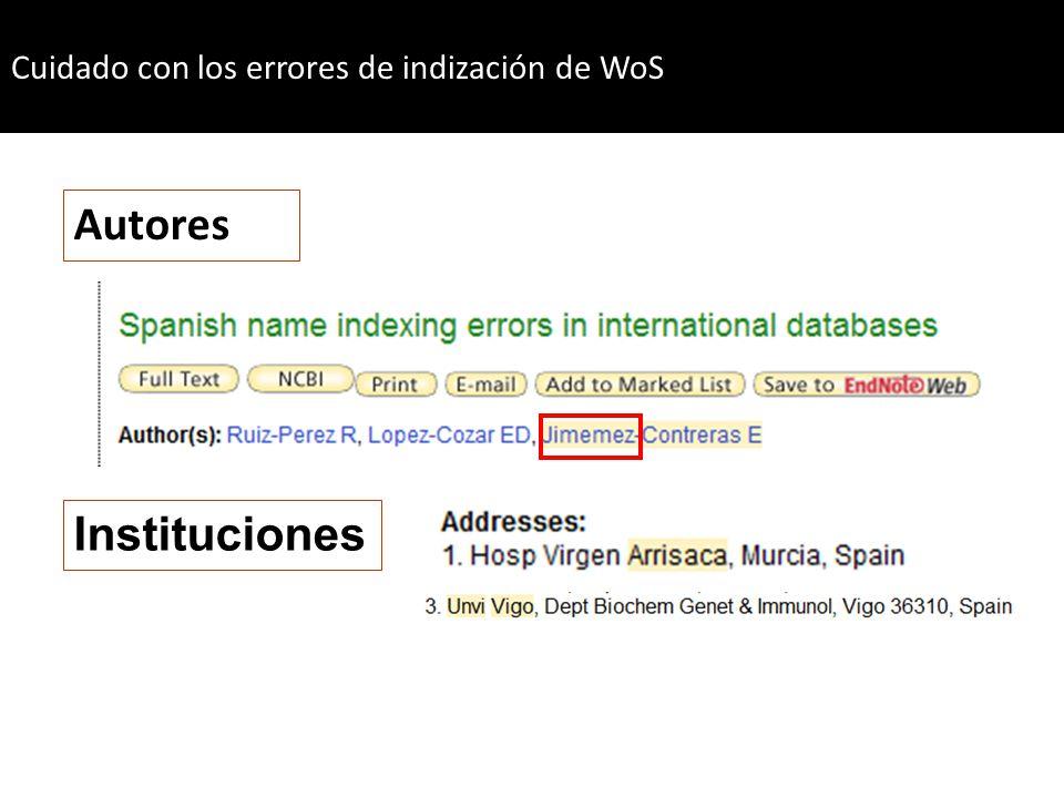 Autores Instituciones Cuidado con los errores de indización de WoS