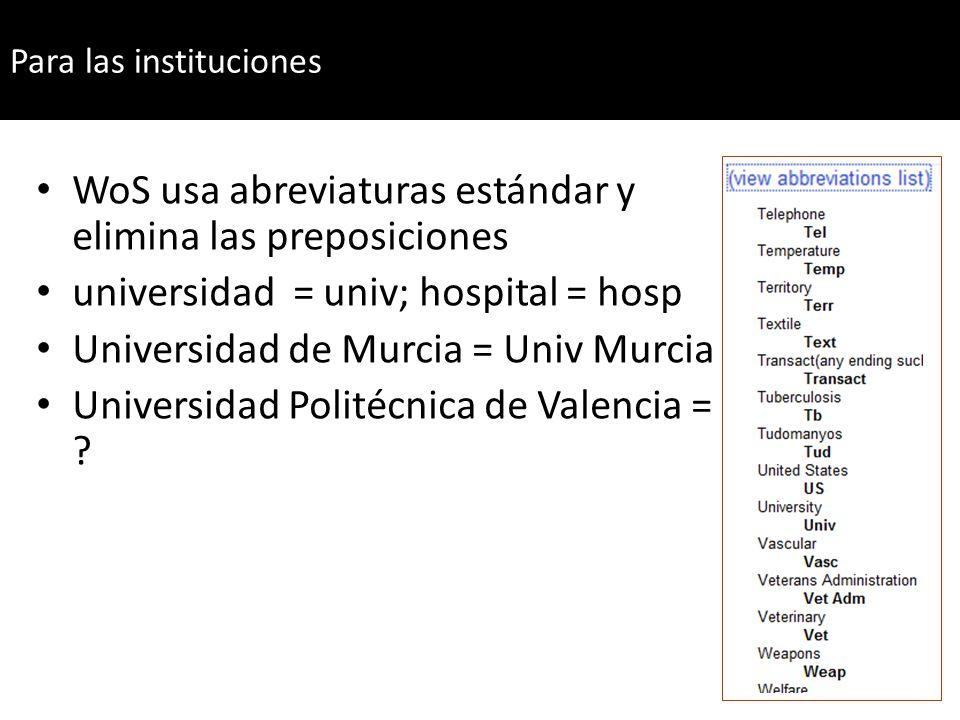 Para el caso de las instituciones WoS usa abreviaturas estándar y elimina las preposiciones universidad = univ; hospital = hosp Universidad de Murcia