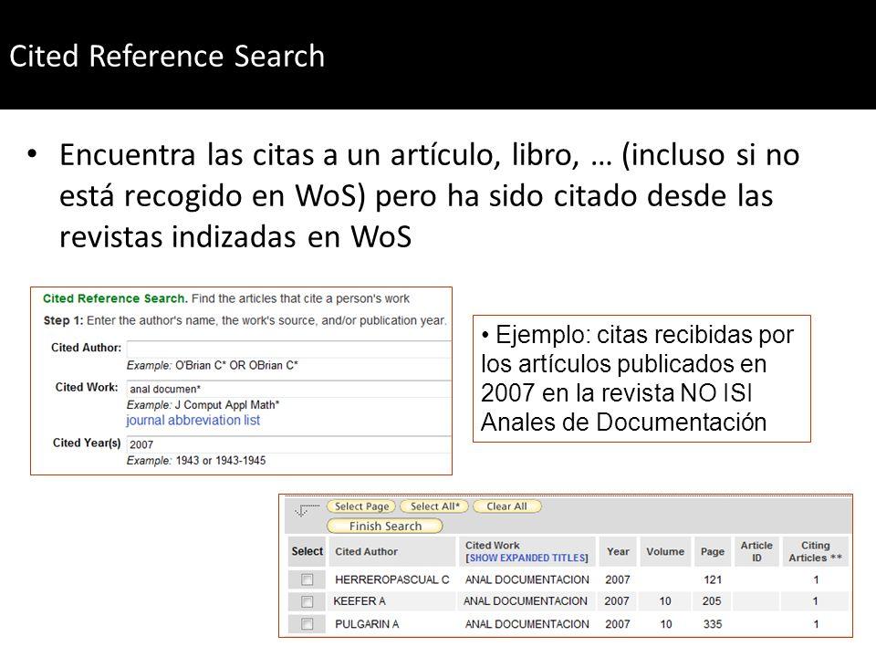 Encuentra las citas a un artículo, libro, … (incluso si no está recogido en WoS) pero ha sido citado desde las revistas indizadas en WoS Ejemplo: cita