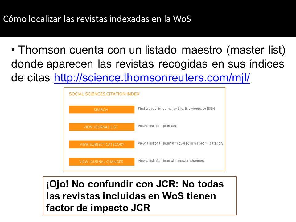 Thomson cuenta con un listado maestro (master list) donde aparecen las revistas recogidas en sus índices de citas http://science.thomsonreuters.com/mj