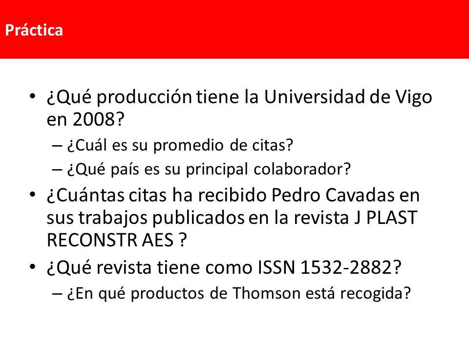 ¿Qué producción tiene la Universidad de Vigo en 2008? – ¿Cuál es su promedio de citas? – ¿Qué país es su principal colaborador? ¿Cuántas citas ha reci