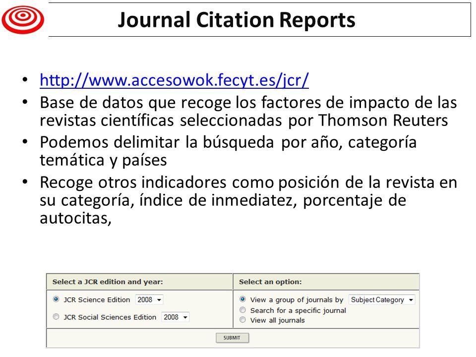 http://www.accesowok.fecyt.es/jcr/ Base de datos que recoge los factores de impacto de las revistas científicas seleccionadas por Thomson Reuters Pode
