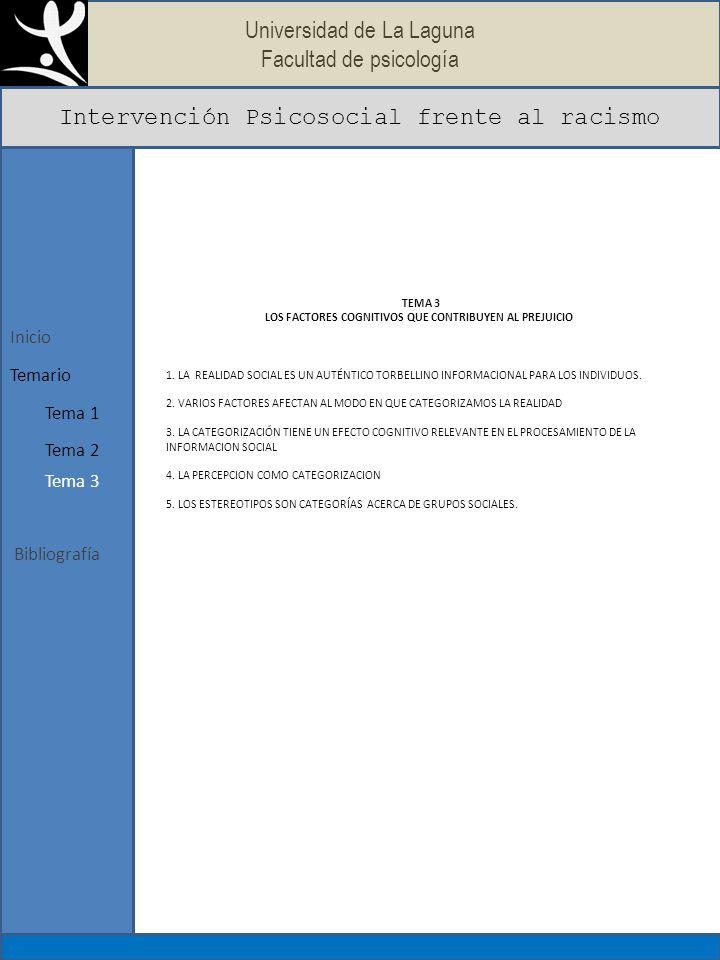 Universidad de La Laguna Facultad de psicología Intervención Psicosocial frente al racismo Bibliografía Inicio Tema 1 Temario Tema 2 Tema 3 TEMA 4 LOS FACTORES MOTIVACIONALES Y GRUPALES QUE HACEN A LAS PERSONAS MÁS VULNERABLES AL PREJUICIO CONTRA OTROS.