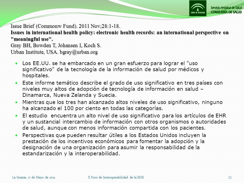 Issue Brief (Commonw Fund). 2011 Nov;28:1-18. Issues in international health policy: electronic health records: an international perspective on