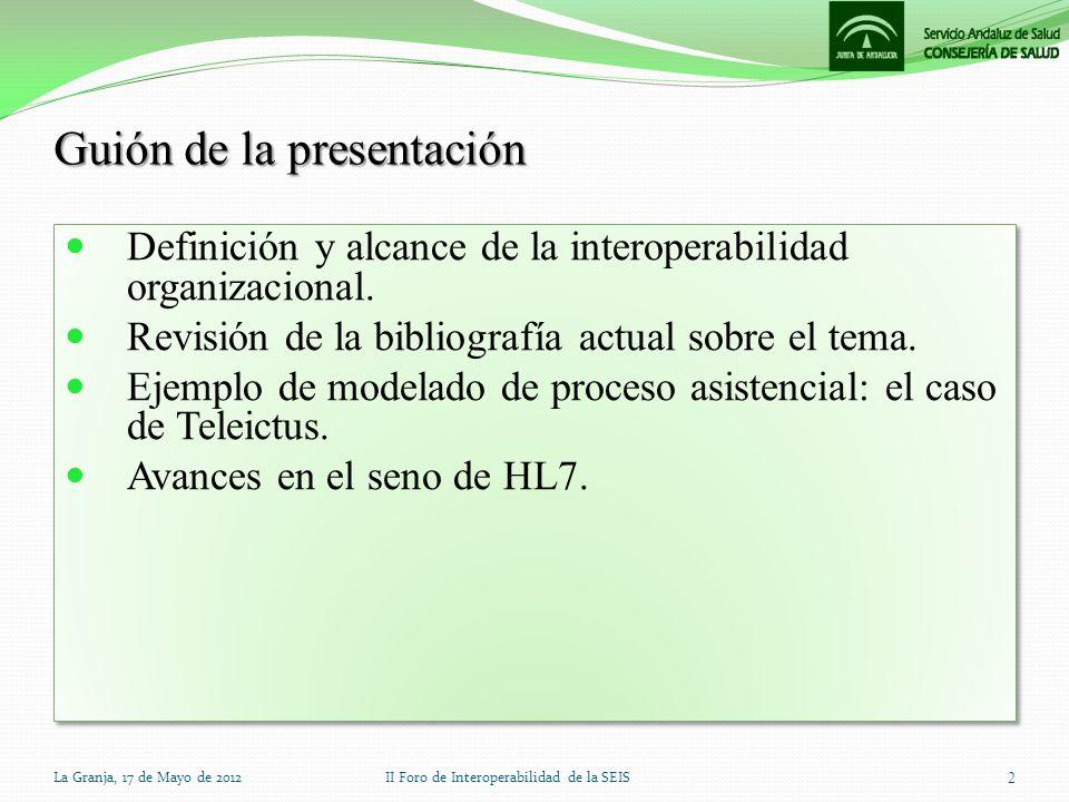 Guión de la presentación Definición y alcance de la interoperabilidad organizacional. Revisión de la bibliografía actual sobre el tema. Ejemplo de mod