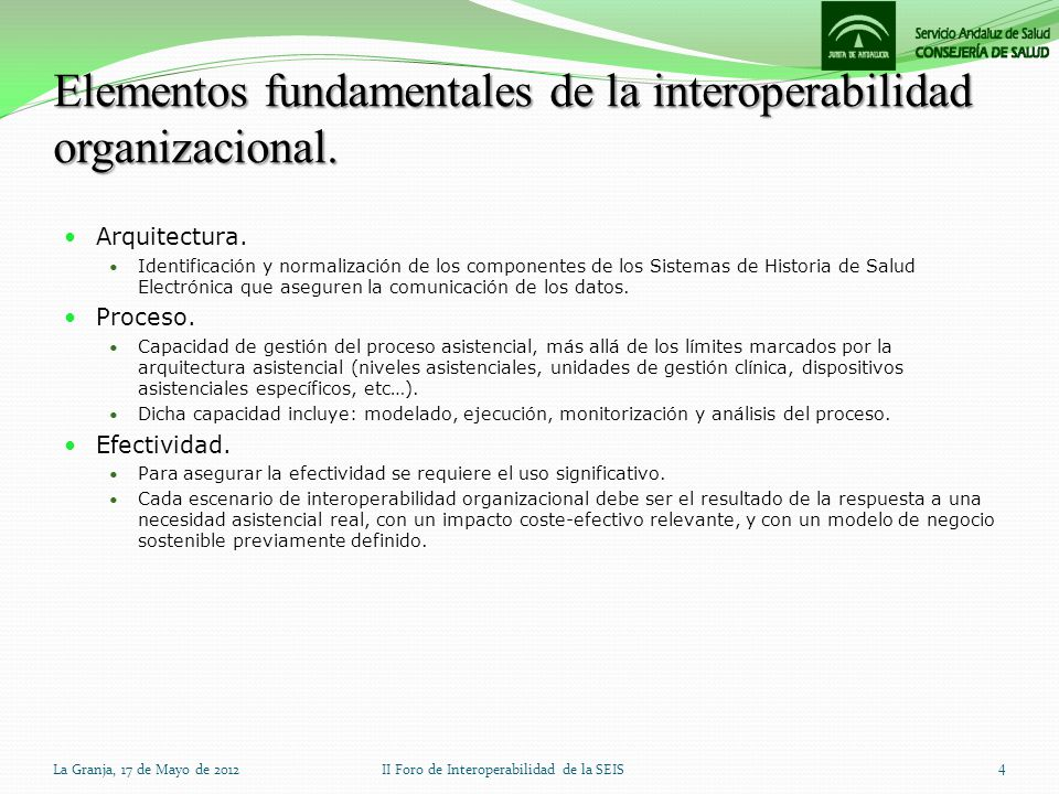 Elementos fundamentales de la interoperabilidad organizacional. Arquitectura. Identificación y normalización de los componentes de los Sistemas de His