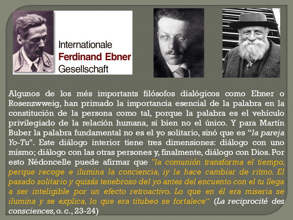Algunos de los més importants filósofos dialógicos como Ebner o Rosenzwweig, han primado la importancia esencial de la palabra en la constitución de l