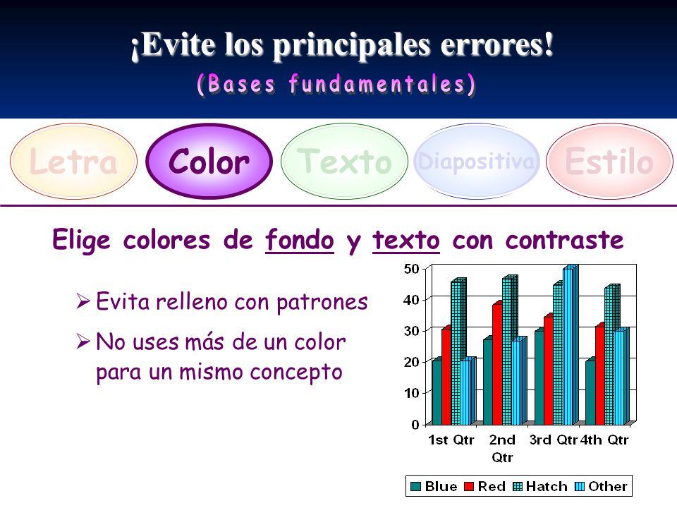 ¡Evite los principales errores! LetraEstiloTexto Diapositiva Color Elige colores de fondo y texto con contraste Evita relleno con patrones No uses más