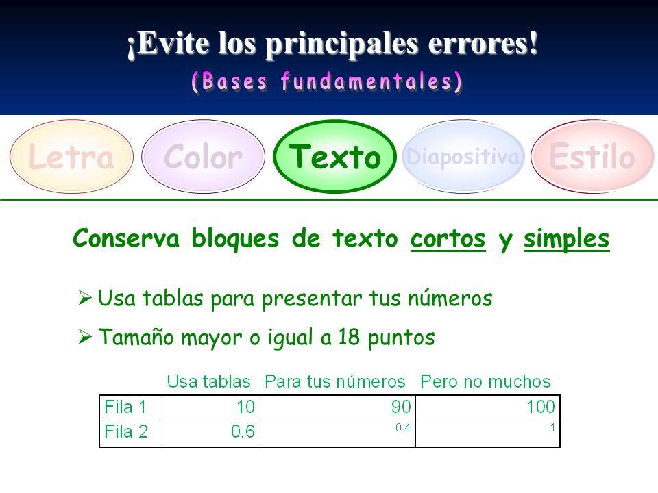 ¡Evite los principales errores! LetraEstiloTexto Diapositiva Color Conserva bloques de texto cortos y simples Usa tablas para presentar tus números Ta