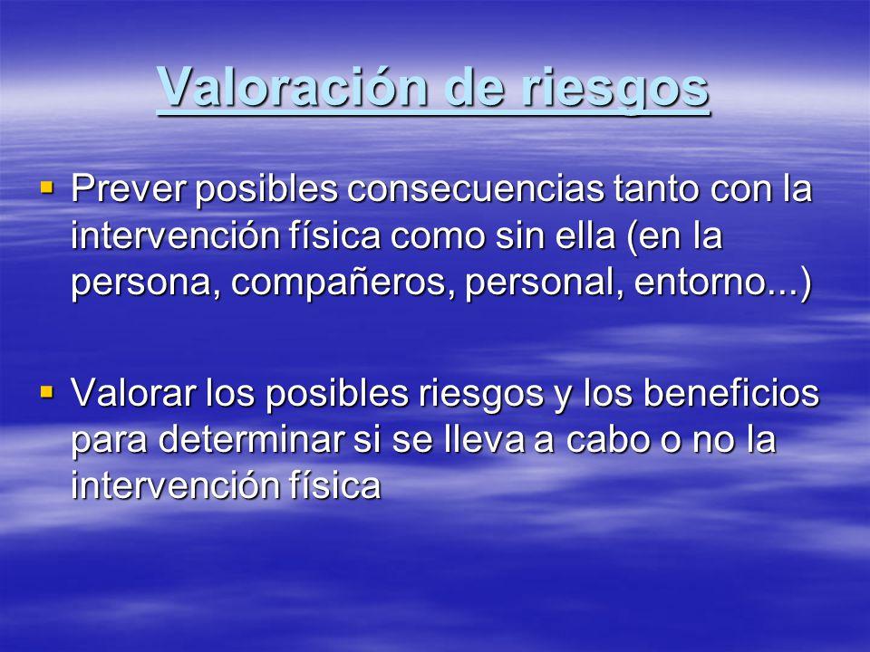 Valoración de riesgos Prever posibles consecuencias tanto con la intervención física como sin ella (en la persona, compañeros, personal, entorno...) P