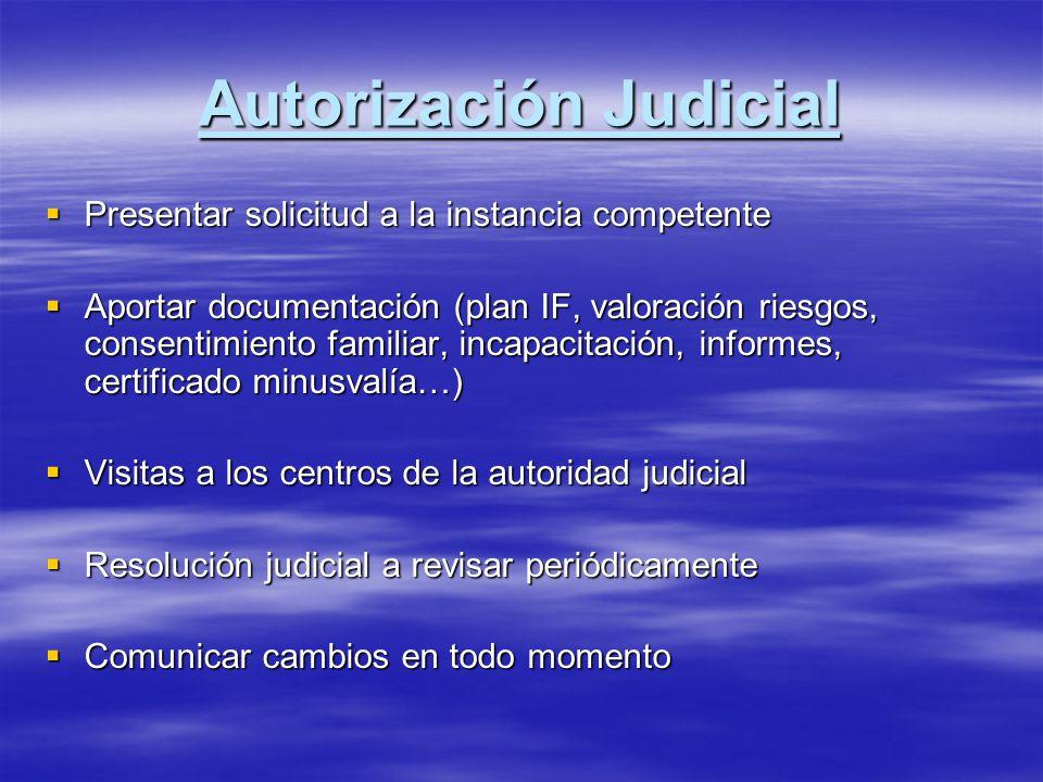 Autorización Judicial Presentar solicitud a la instancia competente Presentar solicitud a la instancia competente Aportar documentación (plan IF, valo