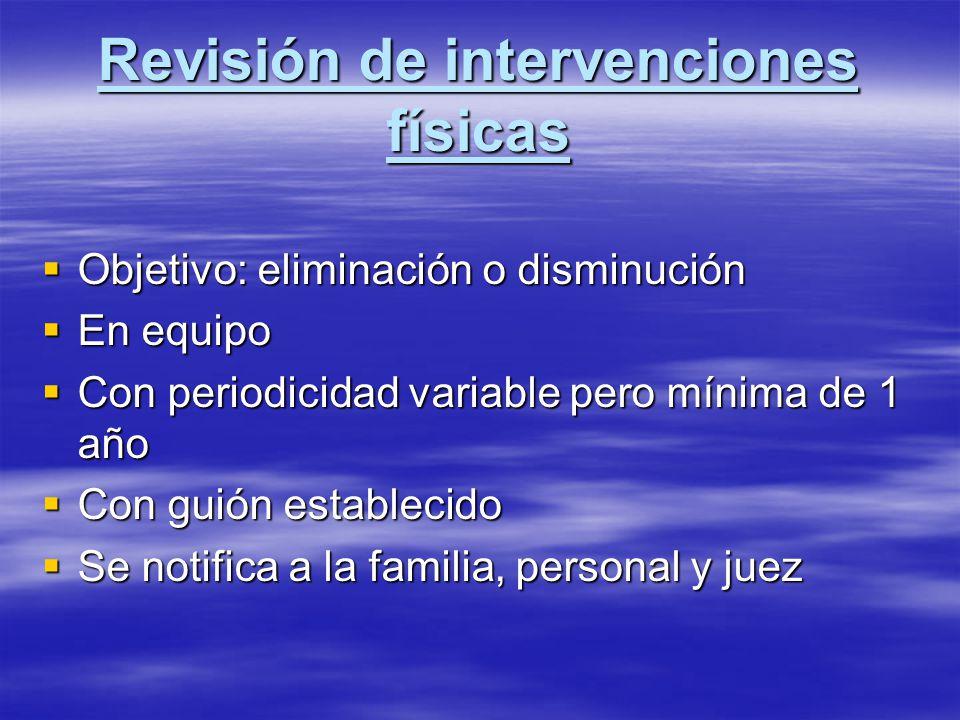 Revisión de intervenciones físicas Objetivo: eliminación o disminución Objetivo: eliminación o disminución En equipo En equipo Con periodicidad variab