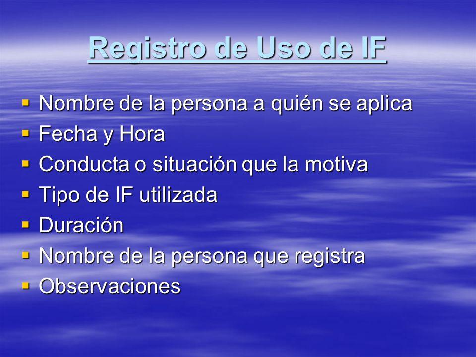 Registro de Uso de IF Nombre de la persona a quién se aplica Nombre de la persona a quién se aplica Fecha y Hora Fecha y Hora Conducta o situación que