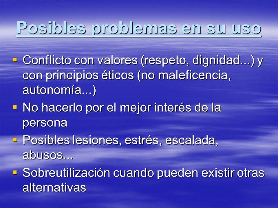 Posibles problemas en su uso Conflicto con valores (respeto, dignidad...) y con principios éticos (no maleficencia, autonomía...) Conflicto con valore