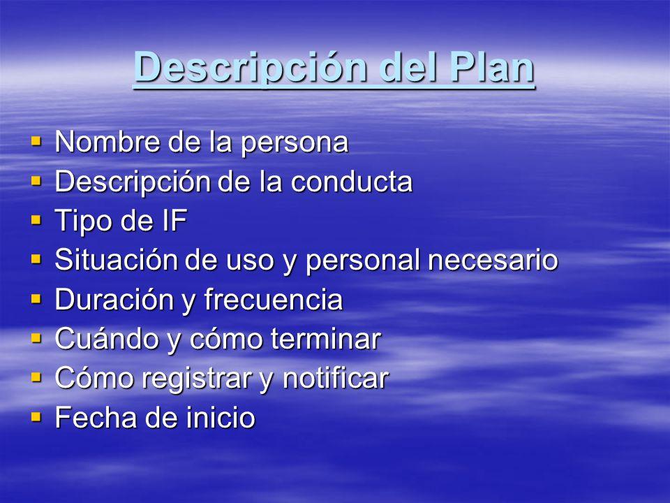 Descripción del Plan Nombre de la persona Nombre de la persona Descripción de la conducta Descripción de la conducta Tipo de IF Tipo de IF Situación d