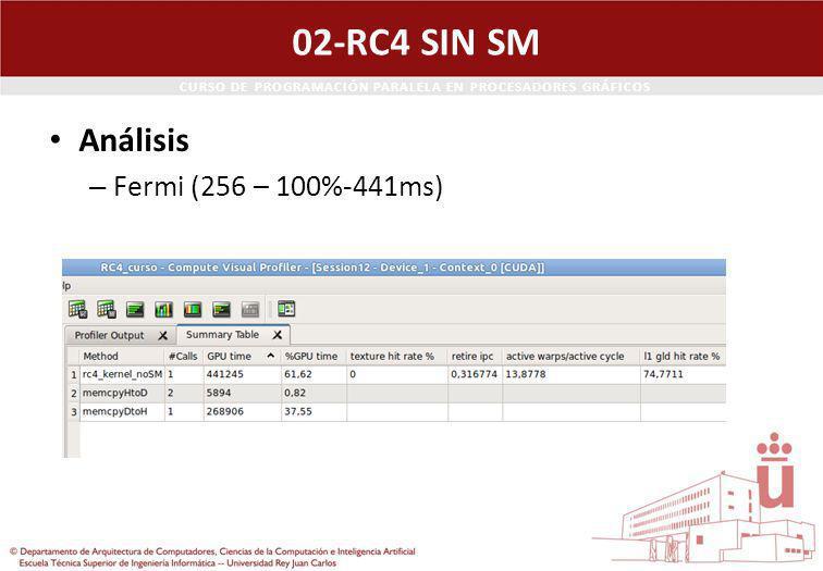 CURSO DE PROGRAMACIÓN PARALELA EN PROCESADORES GRÁFICOS 02-RC4 SIN SM Análisis – Fermi (256 – 100%-441ms)