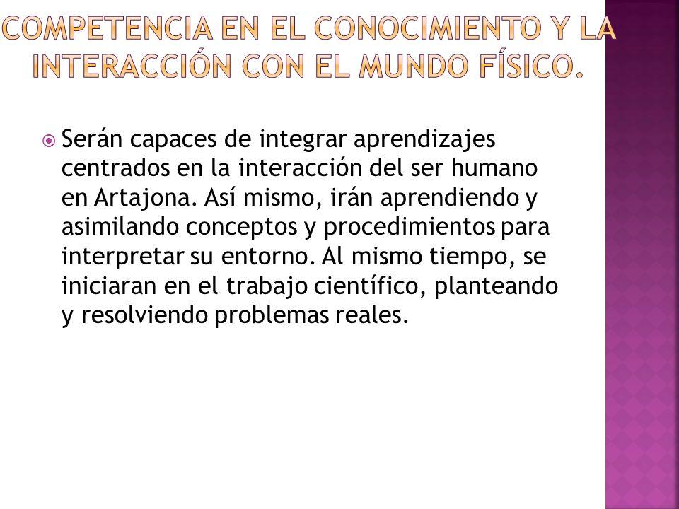 Serán capaces de integrar aprendizajes centrados en la interacción del ser humano en Artajona.