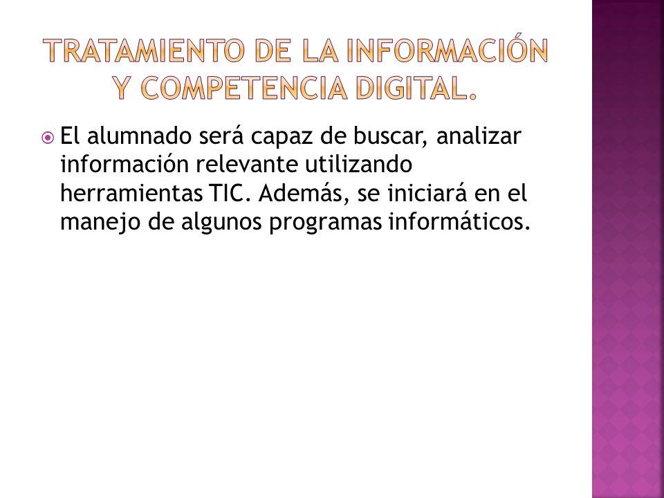 El alumnado será capaz de buscar, analizar información relevante utilizando herramientas TIC.