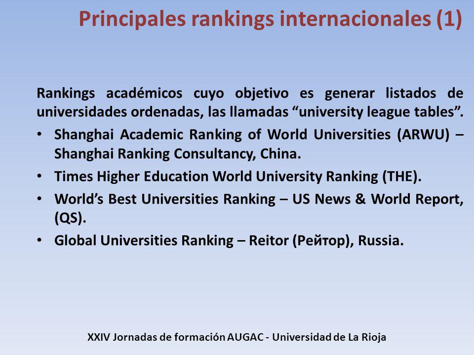 Rankings académicos cuyo objetivo es generar listados de universidades ordenadas, las llamadas university league tables. Shanghai Academic Ranking of