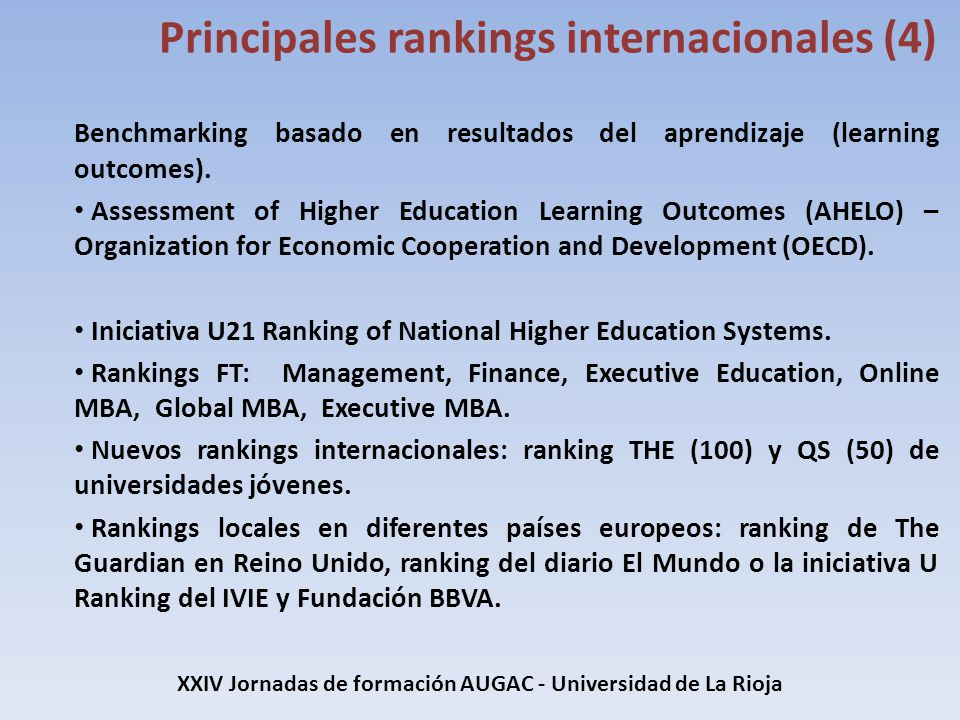 Benchmarking basado en resultados del aprendizaje (learning outcomes). Assessment of Higher Education Learning Outcomes (AHELO) – Organization for Eco