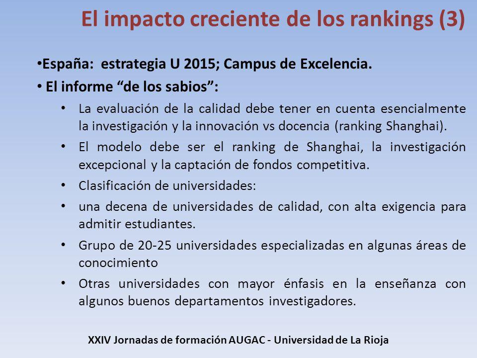 España: estrategia U 2015; Campus de Excelencia. El informe de los sabios: La evaluación de la calidad debe tener en cuenta esencialmente la investiga