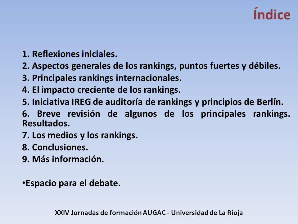XXIV Jornadas de formación AUGAC - Universidad de La Rioja Indicadores (QS) Reputación académica a partir de una encuesta global (40%) Reputación del empleador a partir de una encuesta global (10%) Referencias a artículos de investigación por profesor, obtenido de science scopus (20%), últimos cinco años.