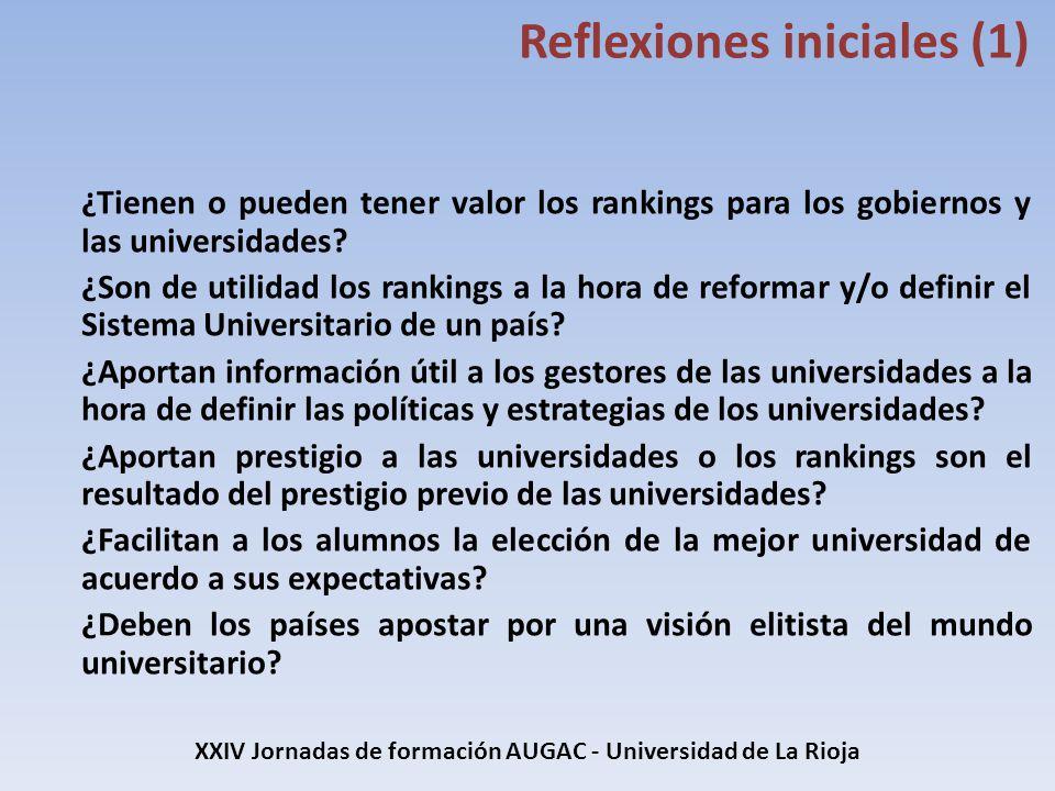 XXIV Jornadas de formación AUGAC - Universidad de La Rioja Conclusiones (5) Los países y las universidades han comenzado a utilizar los datos de los rankings: análisis, planificación estratégica y establecimiento de políticas orientadas a mejorar en los rankings, incluyendo actuar sobre la reputación de la universidad.