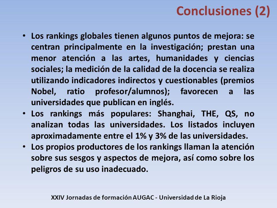 XXIV Jornadas de formación AUGAC - Universidad de La Rioja Conclusiones (2) Los rankings globales tienen algunos puntos de mejora: se centran principa