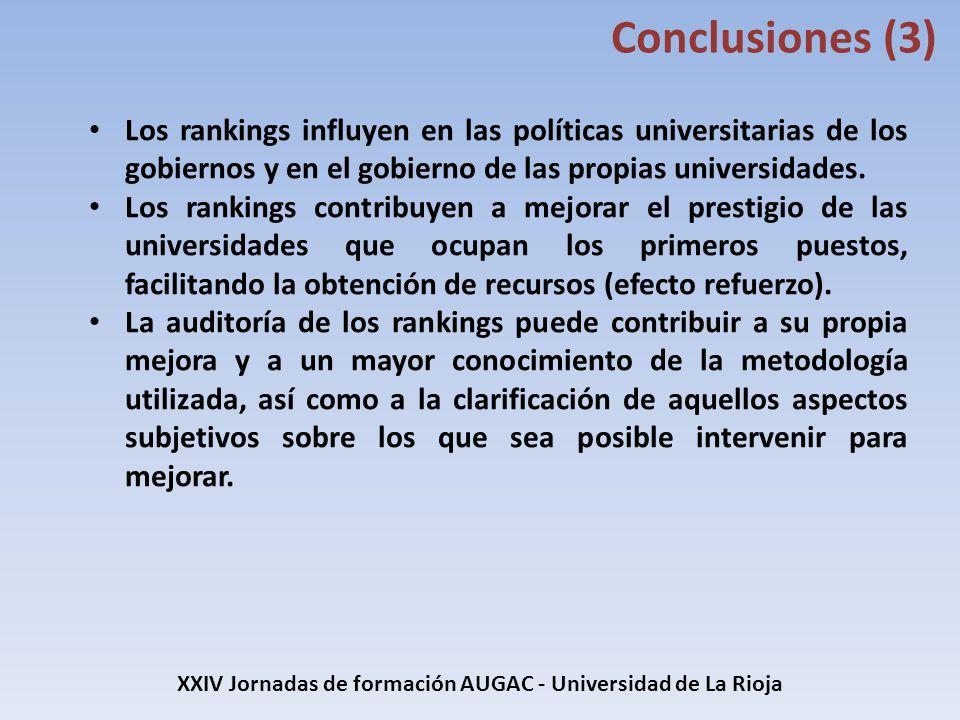 XXIV Jornadas de formación AUGAC - Universidad de La Rioja Conclusiones (3) Los rankings influyen en las políticas universitarias de los gobiernos y e