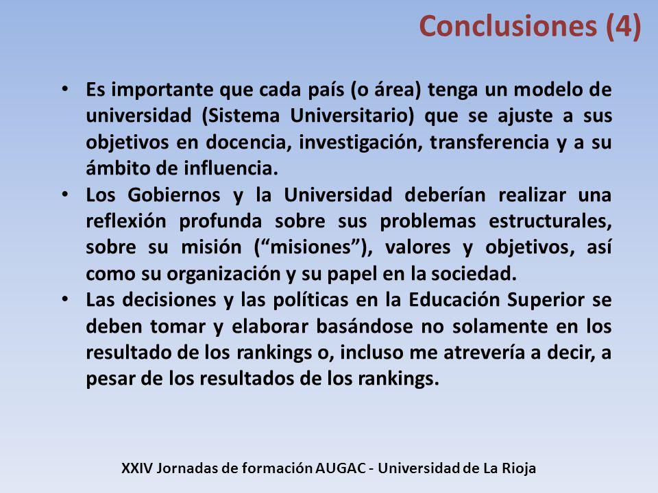 XXIV Jornadas de formación AUGAC - Universidad de La Rioja Conclusiones (4) Es importante que cada país (o área) tenga un modelo de universidad (Siste